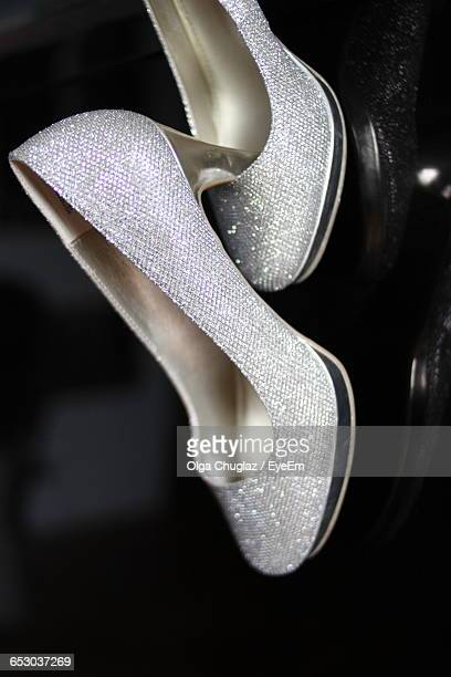 Close-Up Of Silver Colored High Heels