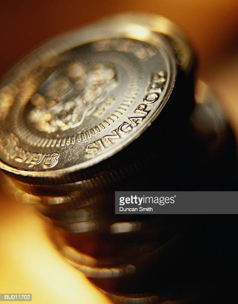 Close-up of Singaporean Coins