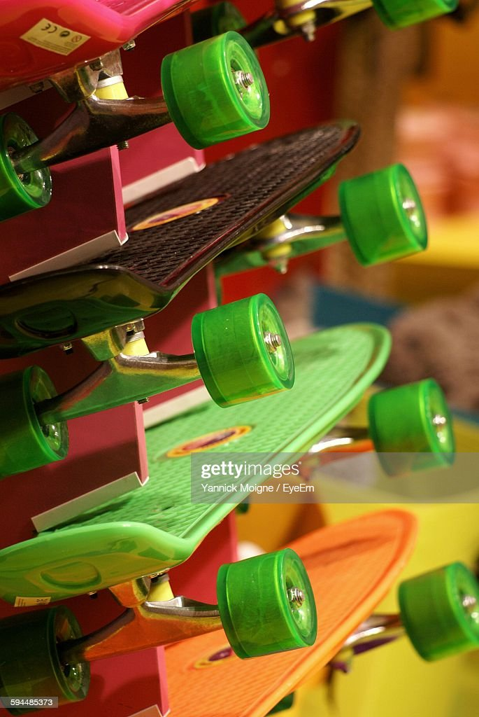 1e7d9738 Closeup Of Skateboards In Store For Sale Stock Photo - Getty Images