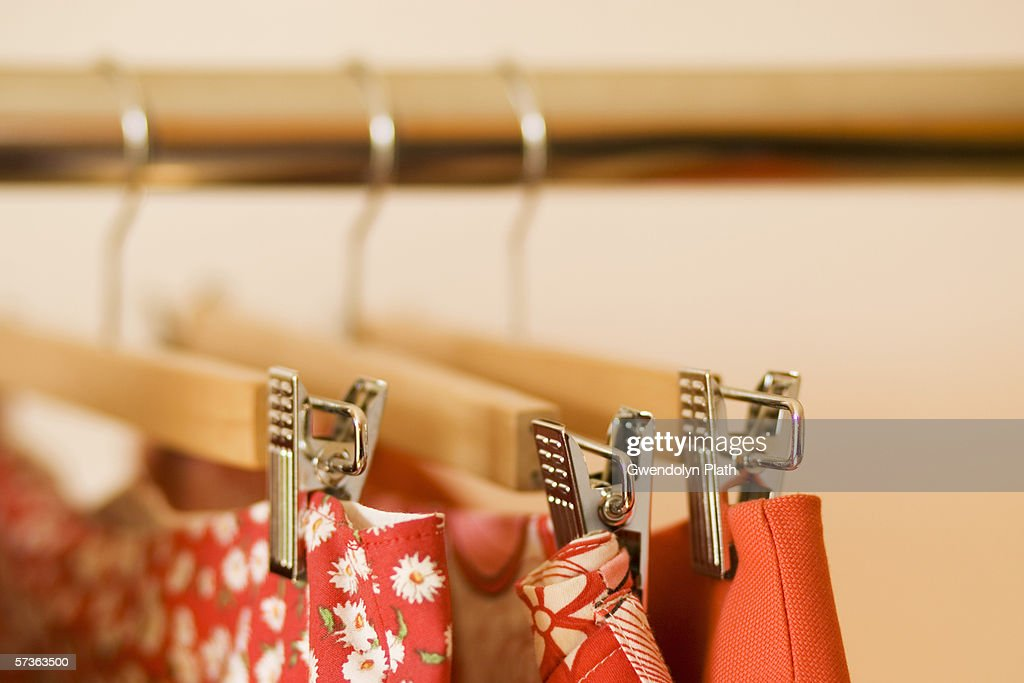 Close-up of skirts hanging on clothes rack : ストックフォト