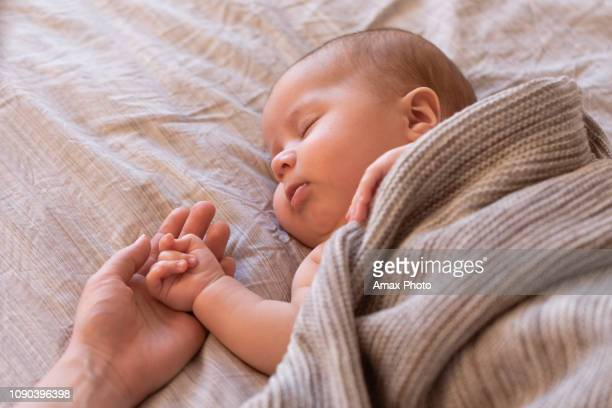 close-up of sleeping baby hand in the mother's hand on the bed. new family and baby sleep concept - new life stock pictures, royalty-free photos & images