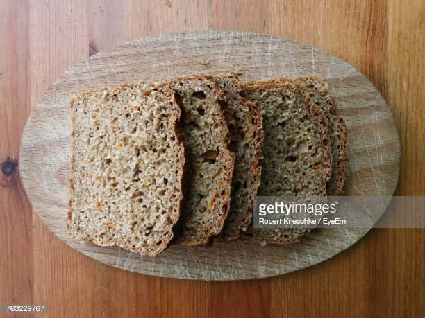 Close-Up Of Sliced Bread On Serving Tray
