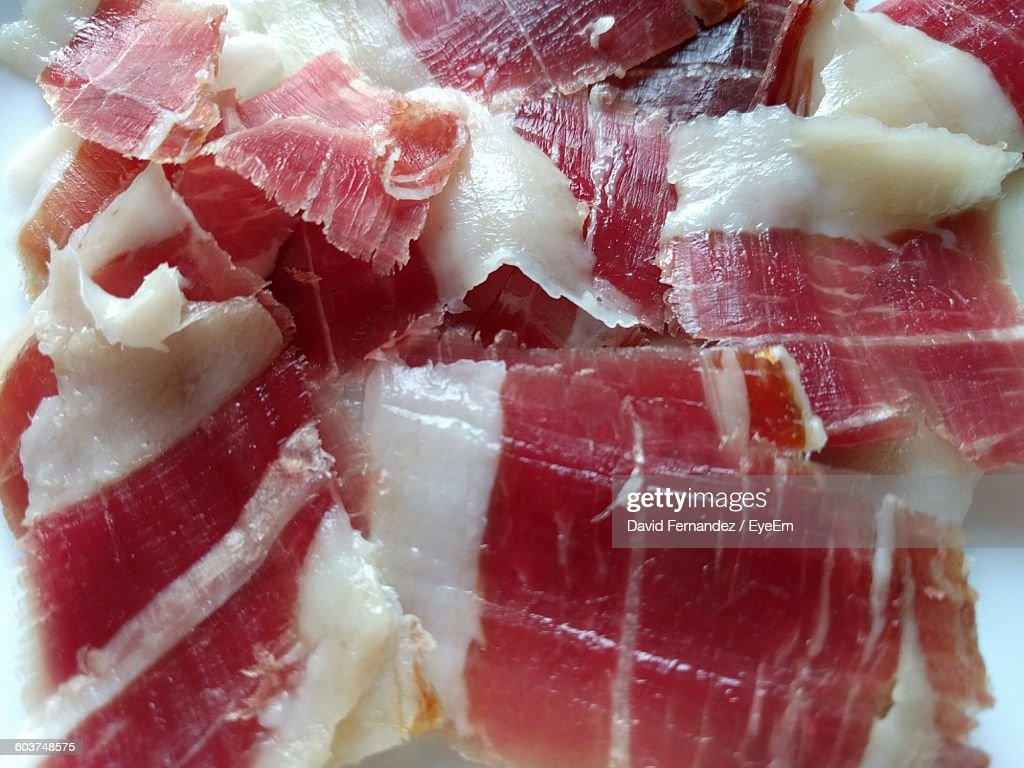 Close-Up Of Sliced Ham In Plate : Stock Photo