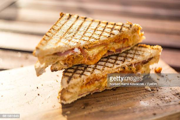 Close-Up Of Sliced Toasted Sandwich