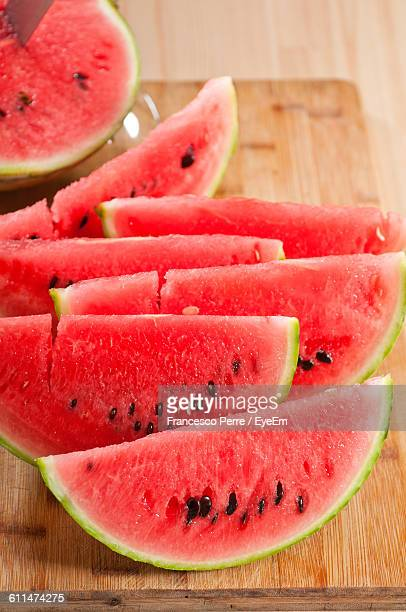 Close-Up Of Sliced Watermelons On Table