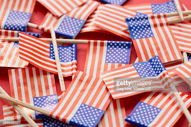 Close-up of small American flags