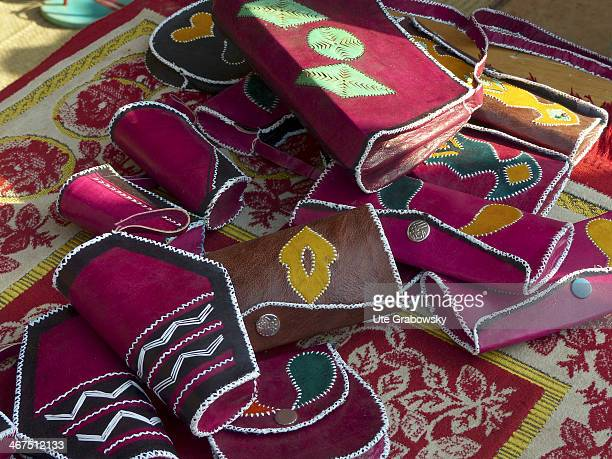 Closeup of small bags made of camel leather the bags are sold at a local market on December 08 in Niamey Niger Photo by Ute Grabowsky/Photothek via...