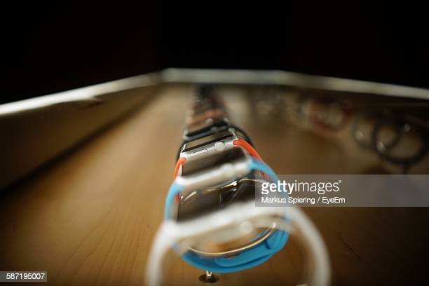 close-up of smart watches for sale - electronics store stock photos and pictures