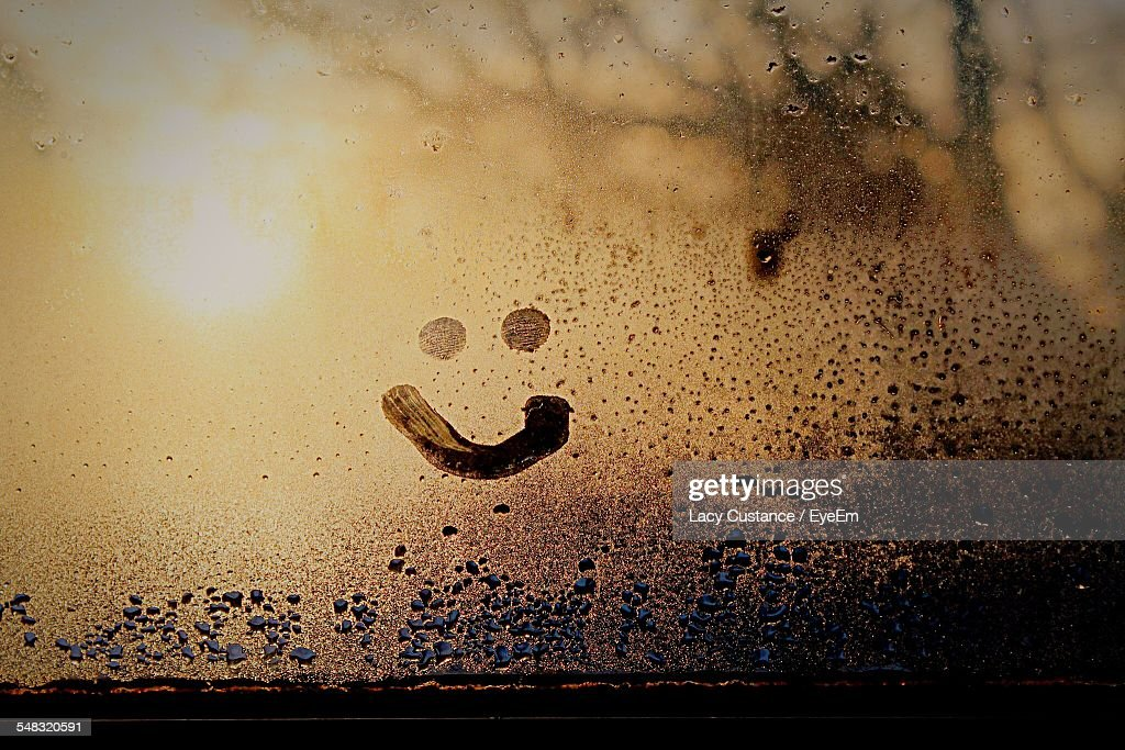 Close-Up Of Smiley On Condensed Glass : Stock Photo