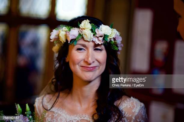 Close-Up Of Smiling Bride Looking Away