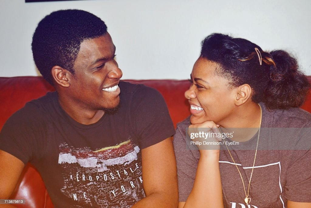Close-Up Of Smiling Couple : Stock Photo