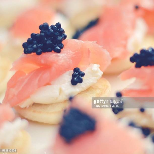 Close-Up Of Smoked Salmon Canape On Plate