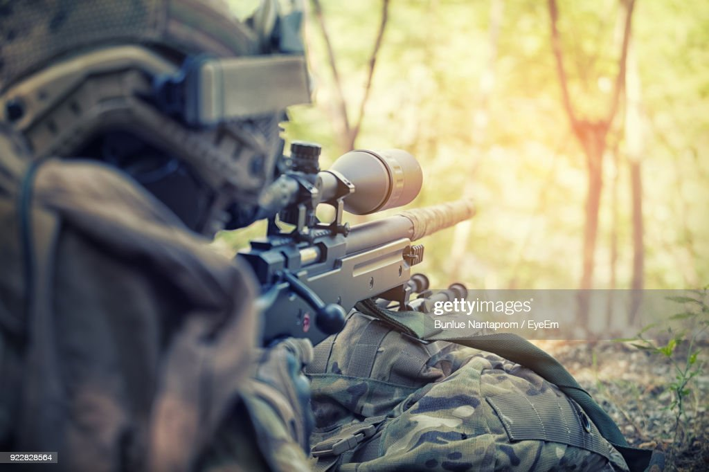 Close-Up Of Sniper On Field : ストックフォト