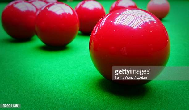 Close-Up Of Snooker Balls On Table
