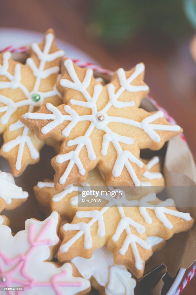 Closeup Of Snowflake Christmas Cookies Stock Photo Getty Images