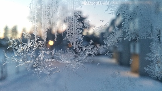 Close-Up Of Snowflakes On Glass Window - gettyimageskorea