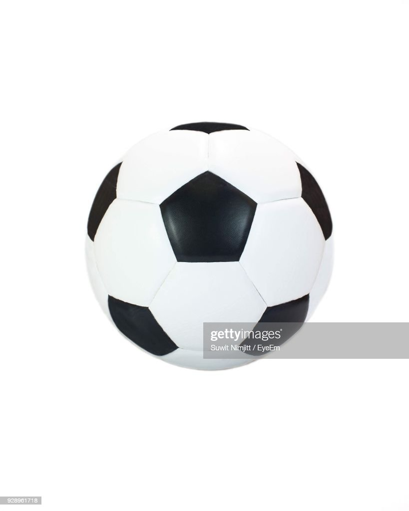 Close-Up Of Soccer Ball Against White Background : Stock Photo