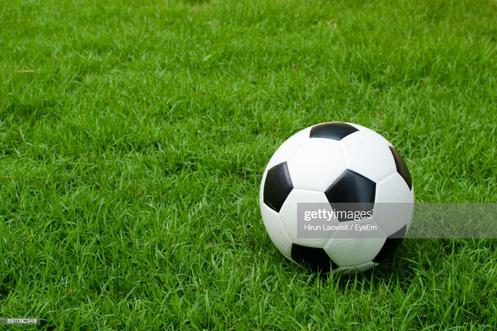 Close-Up Of Soccer Ball On Field : Stock Photo