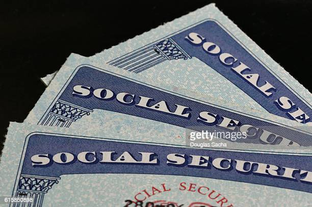 Close-up of social security cards