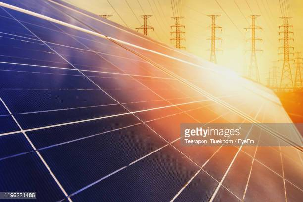 close-up of solar panels during sunset - power supply stock pictures, royalty-free photos & images