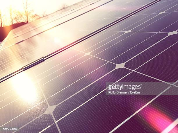 Close-Up Of Solar Panels On Sunny Day