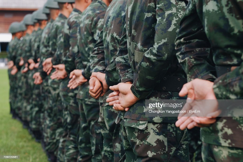 Close-Up Of Soldiers In A Row : Stock Photo