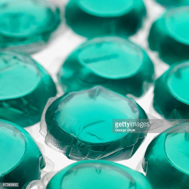 Close-up of soluble washing detergent capsules