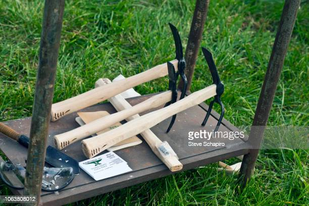 Closeup of some of the gardening tools during a demonstration at an antigun rally in the Englewood neighborhood Chicago Illinois November 3 2018 The...