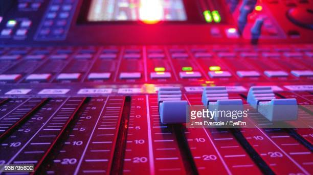 close-up of sound mixer - equalizer stock pictures, royalty-free photos & images