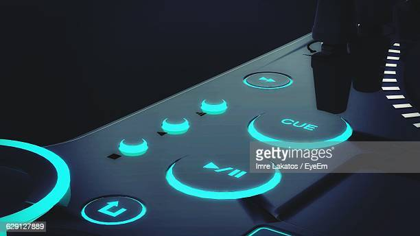 close-up of sound mixing board - play button stock photos and pictures