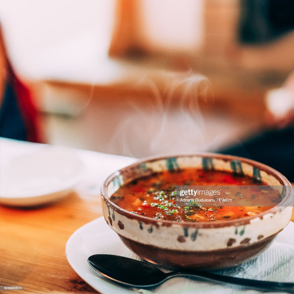 Close-Up Of Soup In Bowl On Table : Stock-Foto