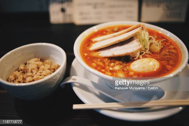 close-up of soup served on table - nagoya stock pictures, royalty-free photos & images