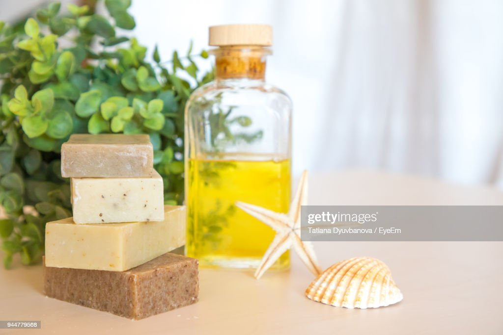Close-Up Of Spa Equipment On Table : Stock Photo