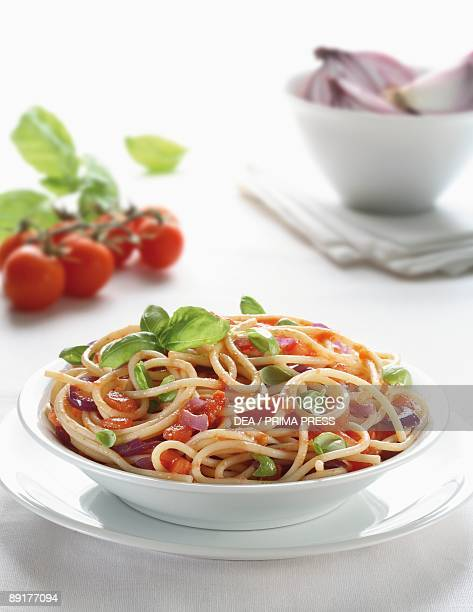 Closeup of spaghetti with fresh tomatoes