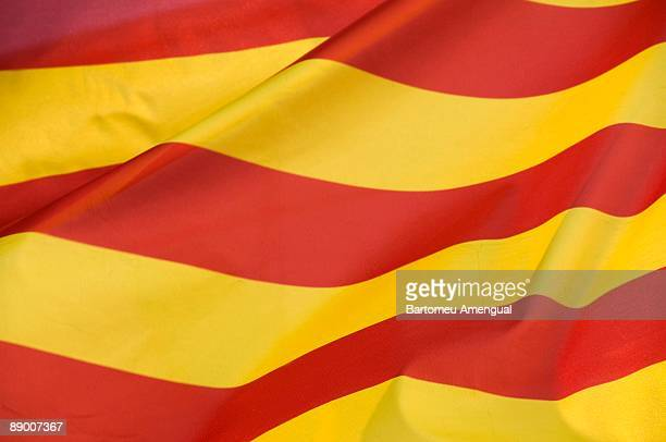 close-up of spanish flag - catalonia stock pictures, royalty-free photos & images