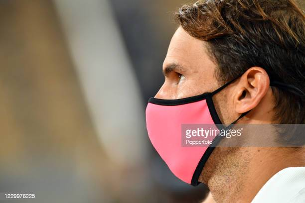 Close-up of Spanish tennis player Rafael Nadal wearing a face mask after defeating Novak Djokovic of Serbia in the men's singles final on day fifteen...