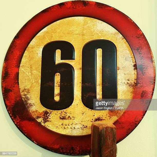 close-up of speed limit 60 kmh sign - number 60 stock photos and pictures