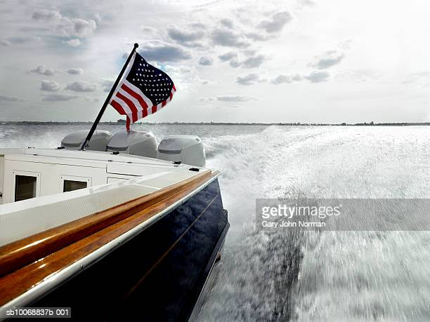 Close-up of speedboat with american flag