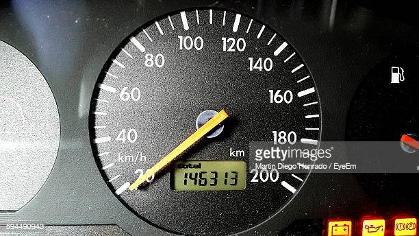 Close-Up Of Speedometer On Dashboard In Car