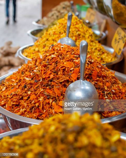 close-up of spices for sale at market stall - noam cohen stock pictures, royalty-free photos & images
