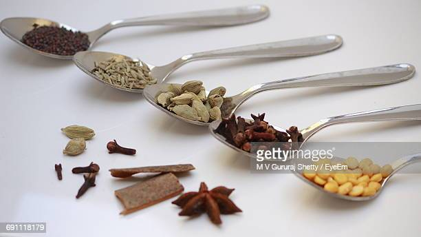 Close-Up Of Spices In Spoons On Table