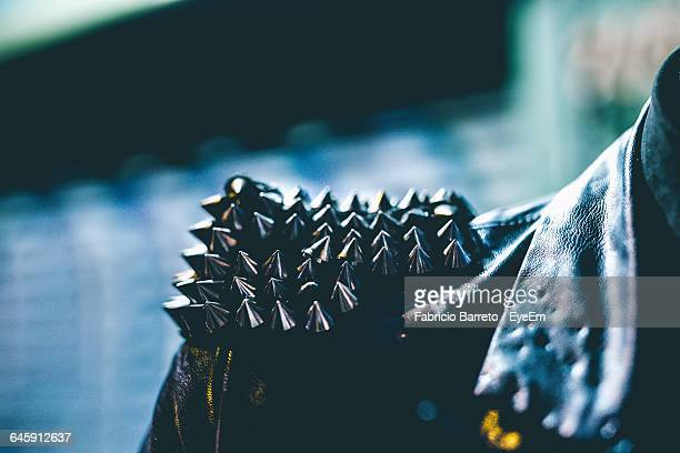 Close-Up Of Spiked Metal On Leather Jacket