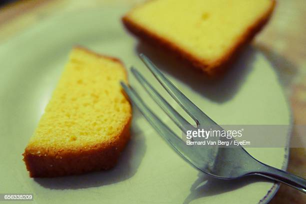 Close-Up Of Sponge Cake Served In Plate On Table
