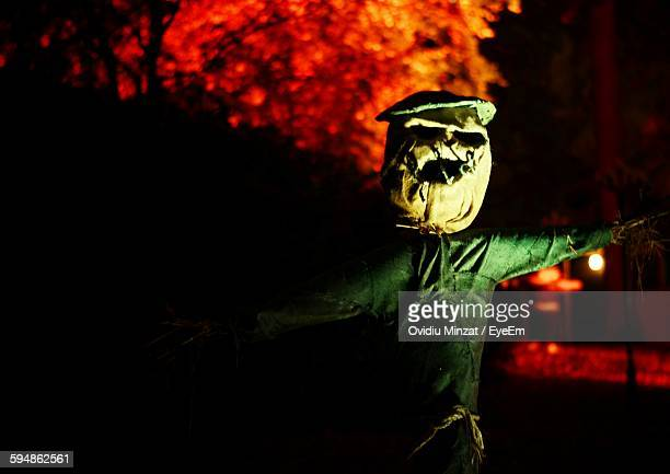 Close-Up Of Spooky Scarecrow At Night