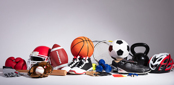 Close-up Of Sport Balls And Equipment 1136317340