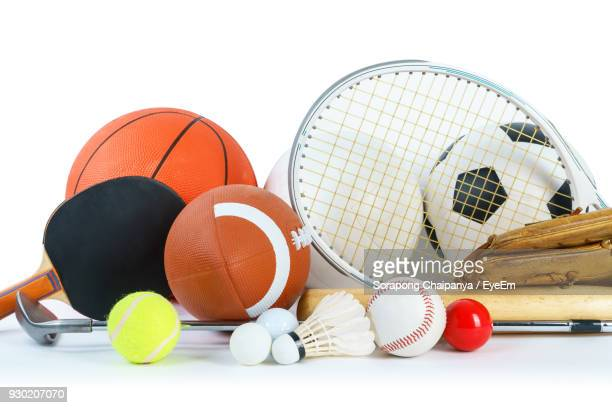 close-up of sports equipment on white background - sports ball stock pictures, royalty-free photos & images