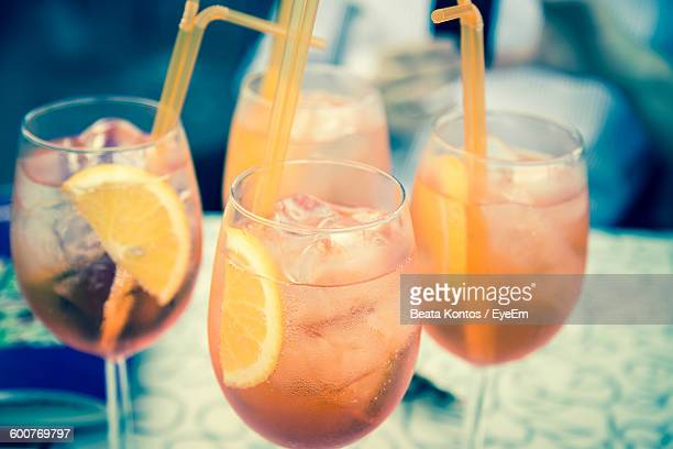 Close-Up Of Aperol Spritz On Table