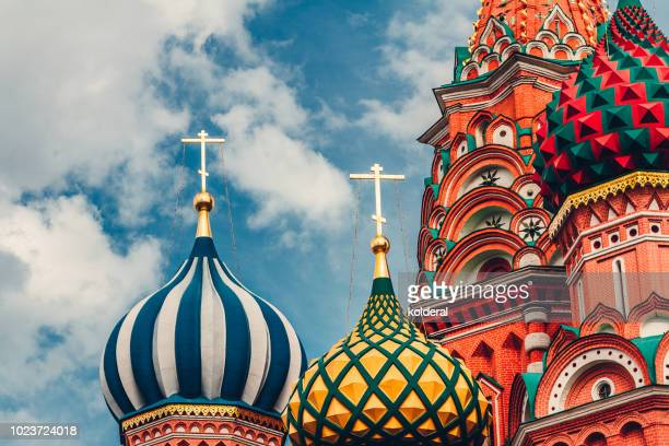 close-up of st basil cathedral cupola - russia stock pictures, royalty-free photos & images