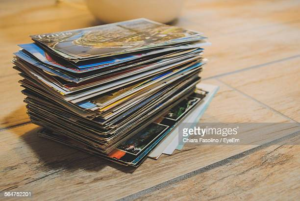 close-up of stack of holiday postcards - postcard stock pictures, royalty-free photos & images