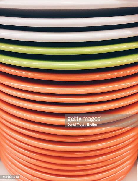 Close-Up Of Stack Of Porcelain Plates